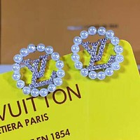 LV Louis Vuitton Stylish Women Delicate Circular Diamond Pearl Pendant Earrings Accessories Jewelry