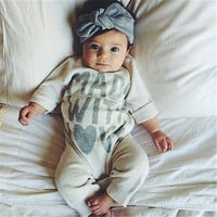 Infant Baby Boy Girls Warm Clothes Long Sleeve Baby Rompers Jumpsuit Letters Baby Autumn Winter Clothes