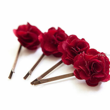 REDGlitter Dark Red Rose Flower bobby pin set 4pcs by finkshop