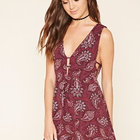 Paisley Print V-Neck Dress