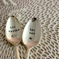 Stamped coffee spoon-his coffee, her tea- funny gift- Anniversary gift- Christmas gift idea for couples-coffee lover gift