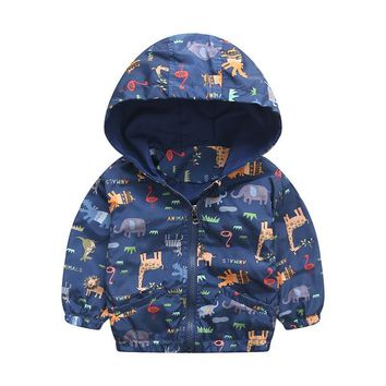 Baby Girls Jacket Active Hooded Coats Boys Kids Children Clothing Animal Printing Outerwear Jacket