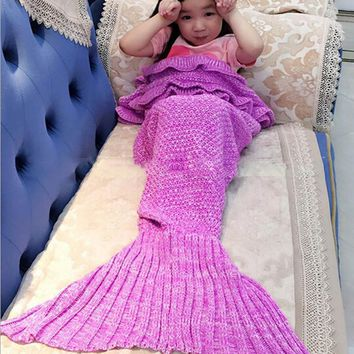 90*50cm Baby Kids Knitting Mermaid Tail Blanket Handmade Crochet Knit Mermaid Swaddling Sleeping Bag for Baby Girls DW932000