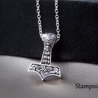 Thors hammer Silver Necklace Silver Hammer Thors Pendant Thors Jewelry Sterling Silver Thor's Hammer Viking Necklace Viking Jewelry Women