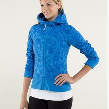 lululemon Scuba Hoodie jog run yoga workout clothes style fashion Blue print
