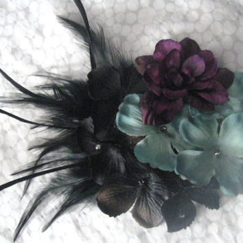 Victorian steampunk Floral Fascinator, Garden, Hair Clip, Feathered, Ethereal, Torture Couture, Gothic, Lolita, Pinup, Rockabilly, Burlesque