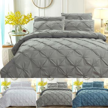 NEW Duvet Quilt Cover Bed pillow Cover For Comforter Bedding Sets Single/Double/King Size Family Adults Children cotton satin