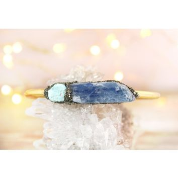 Kyanite & Raw Turquoise December Birthstone Gemstone Bracelet