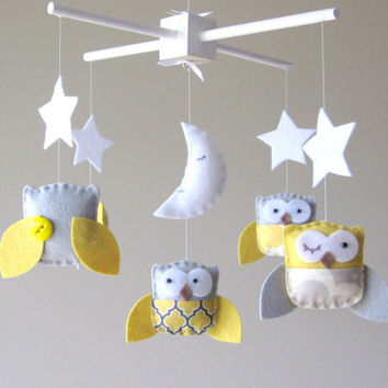 Baby Crib Mobile - Baby Mobile - Yellow and Gray Baby Mobile - Owl Mobile - Neutral Mobile