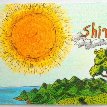 Art print aceo card, 'Shine' Sun-Tree-Sea inspirational poster print, landscape art print for your wall or deck
