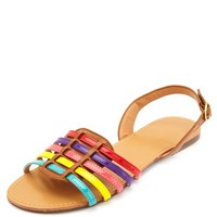 RAINBOW PATENT-STRAPPED D'ORSAY HUARACHE SANDALS