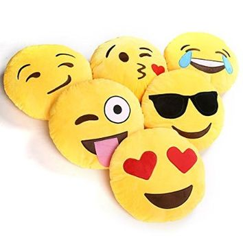 1 X Ciamlir Soft Emoji Smiley Emoticon Yellow Round Cushion Pillow Stuffed Plush Toy Doll (2)
