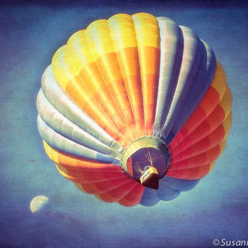 Kids Wall Art, Hot Air Balloon, Journey to the Moon, Photography Fine Art Print, Magical Fantasy, Blue, Colorful, Nursery Wall Decor