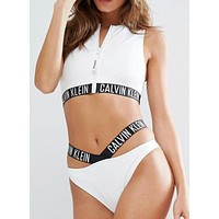 Calvin Klein Zipper Hollow Bikini Set Swimsuit Swimwear Two-piece
