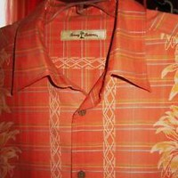 TOMMY BAHAMA HAWAIIAN SHIRT TROPICAL FLOWERS  CASUAL ORANGE!SIZE L !100%SILK! !