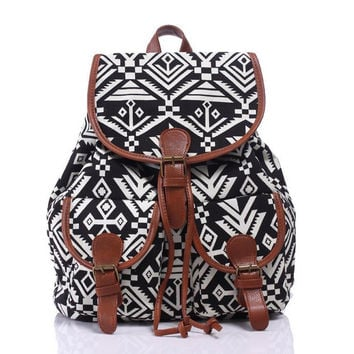 Ethnic Aztec Geometry Canvas Ethnic Style Large Backpack Travel Bag School Bookbag