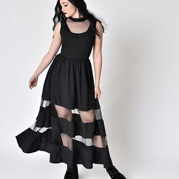 Hell Bunny Retro Black Sheer Illusion Ruffle Bellatrix Dress