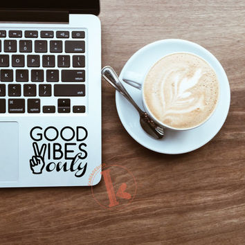Good Vibes Only Vinyl Decal Sticker - laptop stickers - typography - car decal, laptop decal, car sticker, laptop sticker - Good Vibes
