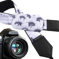 Sunflowers pocket camera strap. Flowers. Floral design. Bridesmaids' Gifts. Wedding accessory. Camera strap for Nikon, Canon, Fuji, Pentax.