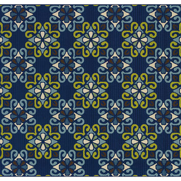 Ala Outdoor Rug, Navy/Lime, Area Rugs