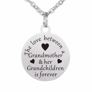 ZMZY 30mm Grandmother Love Laser Plates 316L Stainless Steel Pendants Necklaces for Women Jewelry With Chain and Key Chain DIY