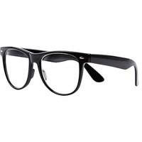 Black oversized geek glasses - clear lens glasses - sunglasses - men