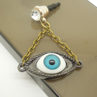 Gift for Him 1PC Retro Evil Eye Cell Phone Earphone Stopper Antidust Plug Charm for iPhone  4s,5,5c,5s, Samsung, HTC, Nokia