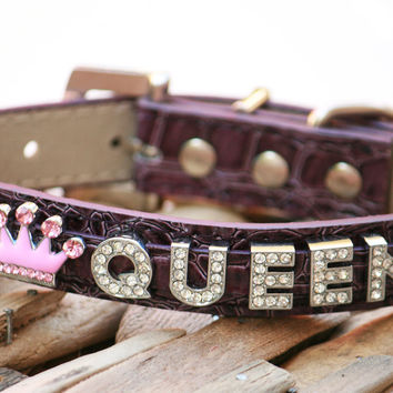 Purple Leather dog collar,  Rhinestone Collar with Personalized Rhinestone Name and Pink Rhinestone Crown - X Large Dog Collar