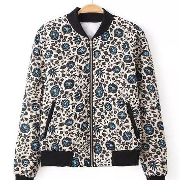 Multi Color Floral Print with Quilt Pattern Padded Jacket