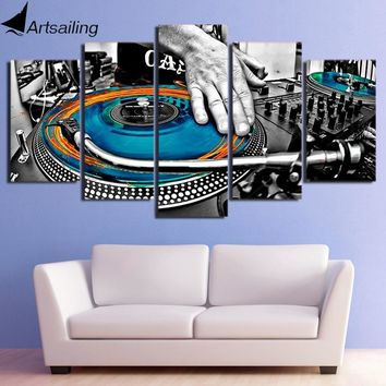 HD Printed 5 Piece Canvas Art DJ Music CD-ROM Painting Modular Wall Pictures for Living Room Music Poster Free Shipping CU-2323A