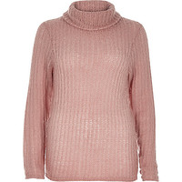 Pink knitted cowl neck jumper