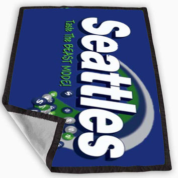 skittles seattle seahawks Blanket for Kids Blanket, Fleece Blanket Cute and Awesome Blanket for your bedding, Blanket fleece **