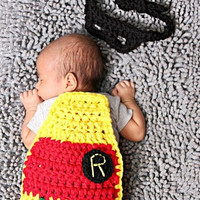 Newborn Crochet Robin Cape and Eyemask Set Baby Photography Prop Handmade Knit Crochet outfit (Size: 0-6m, Color: Multicolor) = 1958333124