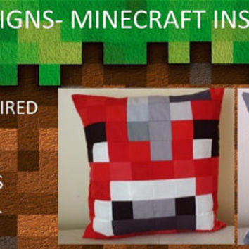 Save 10%-Set of 5 Minecraft Pillows- Heart, Steve, Creeper, Chicken, Stampy, Squid, Mooshroom, Enderman