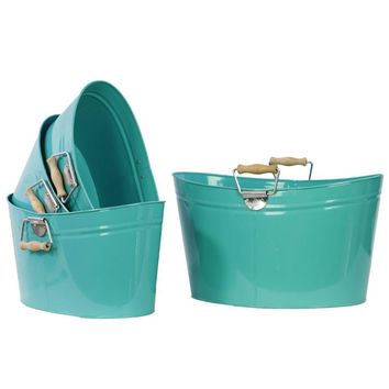 13310 Set Of Four Metal Oval Buckets With Wood Handle