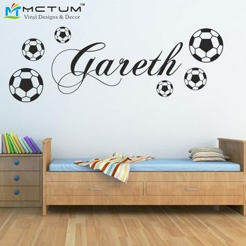 PERSONALIZED FOOTBALL wall sticker sports boys name bedroom footballer art vinyl Wall Sticker For Kids Rooms Decoration