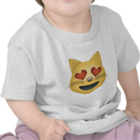 Smiling Cat Face With Heart Shaped Eyes Emoji Tshirt