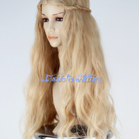Maleficent Sleeping Beauty Princess Aurora Cosplay Wig, Long Golden Blonde Costume Wigs for Party UF090