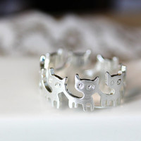 Retro silvertone Kitty Band Ring Cat ring 7.5US size Funny Kitten gift idea Color Select