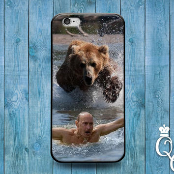 iPhone 4 4s 5 5s 5c 6 6s plus + iPod Touch 4th 5th 6th Generation Custom President Putin Russian Russia Bear Swim Phone Cover Funny Fun Case