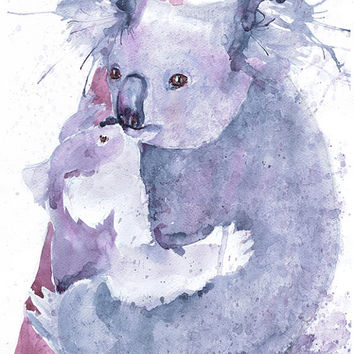 Koala bear gifts, australian animals painting watercolor, koala art, mother and baby print, koala nursery decor, aussie animals, mother gift