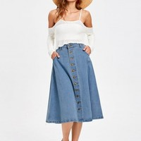 Denim Button Up Midi Skirt