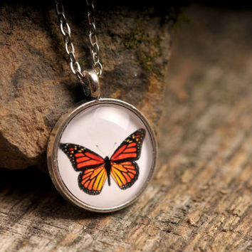 Butterfly necklace, butterfly pendant, monarch butterfly necklace, silver necklace, butterfly jewelry, nature necklace, orange butterfly
