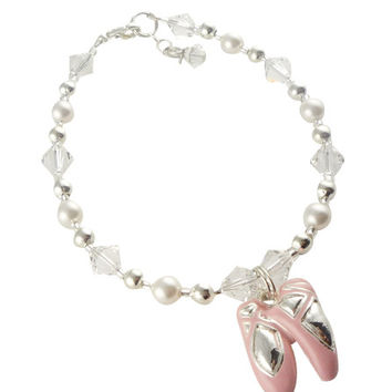 Crystal & Pearl Dance Ballet Bracelet for Girls, Recital Gift