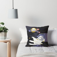 'Planet Sloth' Throw Pillow by Miri-Noristudio