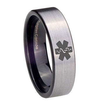 8mm Medical Alert Pipe Cut Brushed Silver Tungsten Carbide Wedding Bands Ring