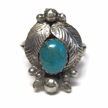 Vintage Navajo Turquoise Feather Ring Sterling Size 6