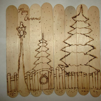 OOAK Merry Christmas Wood Burned Winter Snow Scene Popsicle Stick Art Rustic Hand Drawn Original Art Can Frame or Stand Alone Home Him Her