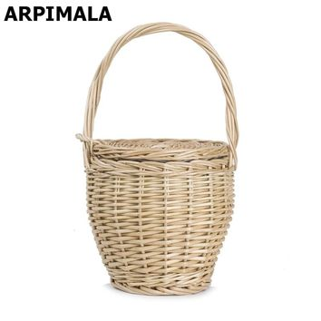 ARPIMALA 2017 Bohemian Straw Bags Women Summer Wicker Basket Bag Small Fashion Beach Handbags Ladies Hand Bag Tote Travel Clutch