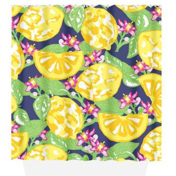 Lemon SHOWER CURTAIN, Lilly Hibiscus Flower, Custom MONOGRAM Personalized, Girl Sister Bathroom Decor, Bath Towel, Plush Bath Mat